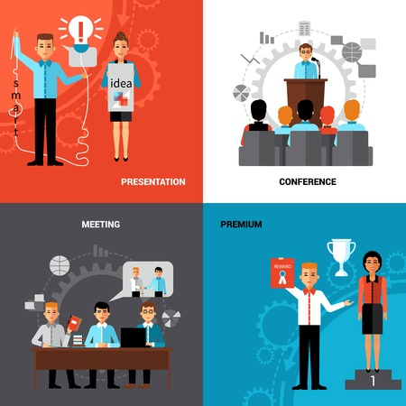 workgroup: Business innovative ideas promotion concept 4 flat icons composition banner with presentation meeting abstract isolated vector illustration