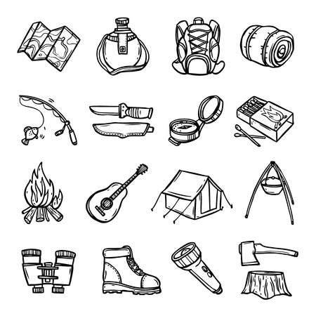 boots: Camping black white icons set with tent rucksack and map flat isolated vector illustration