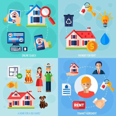 tenancy: House rent design concept set with flat tenancy icons isolated vector illustration Illustration