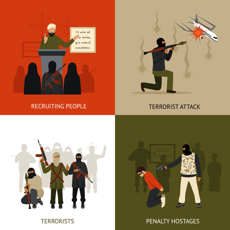 Terrorisme ontwerpconcept set met geïsoleerde rekruteren terroristen en gijzelaars penalty vlakke pictogrammen vector illustratie
