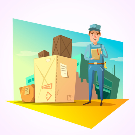 shipping boxes: Warehouse concept with delivery worker and shipping boxes vector illustration