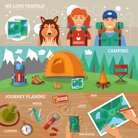 Hiking flat horizontal banners collection with journey planning hiking travelers and camping icons vector illustration
