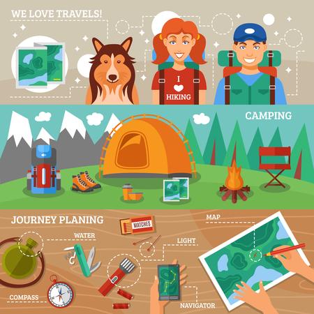 Senderismo colección de banners horizontales plana con los viajeros de senderismo de planificación de viajes y los iconos de camping ilustración del vector