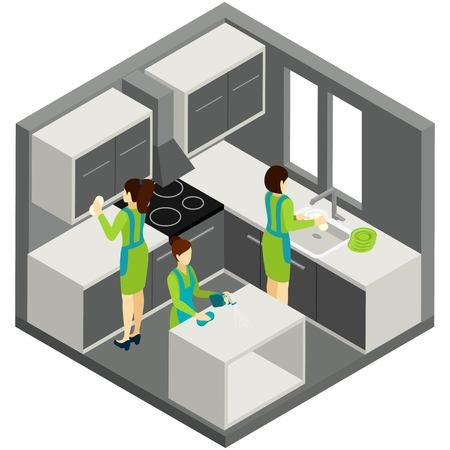 green cleaning: Professional residential maids in green uniforms providing quality kitchen cleaning services abstract isometric pictogram banner vector illustration