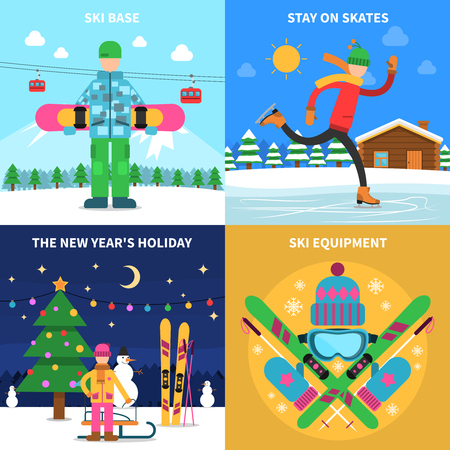 ski pass: Winter sport design concept set with ski equipment flat icons isolated vector illustration