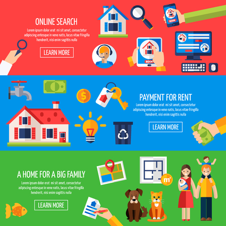 tenancy: Rent and tenancy horizontal banner set with online property search flat elements isolated vector illustration