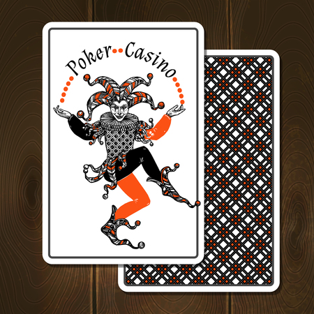 juggle: Joker cards on wooden background with poker casino title realistic vector illustration