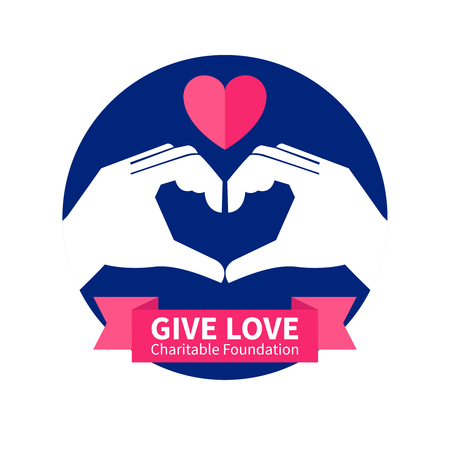 banner of peace: Charitable foundation with give love and peace symbol flat vector illustration