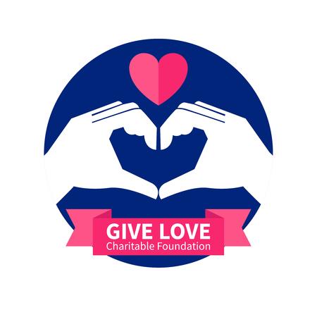 simbolo paz: fundación de caridad con el amor de dar y la ilustración vectorial plana símbolo de la paz Vectores