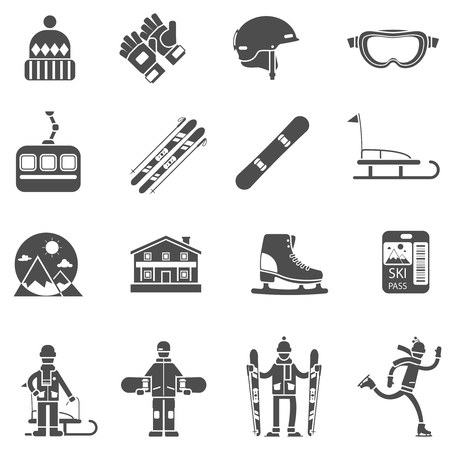 ski pass: Winter sport black icons set with extreme snow activities items isolated vector illustration