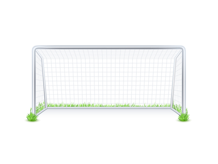 Al aire libre puerta de metal meta de fútbol partido de fútbol con la red blanca sobre fondo de hierba imprimir resumen ilustración vectorial