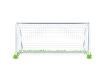 metas: Al aire libre puerta de metal meta de fútbol partido de fútbol con la red blanca sobre fondo de hierba imprimir resumen ilustración vectorial