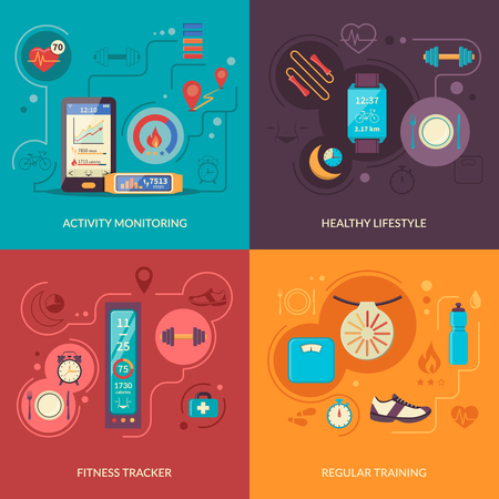 wristlet: Fitness tracker 2x2 design concept set with healthy lifestyle regular physical training and activity monitoring icons vector illustration