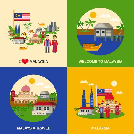 Malasia por los viajeros de composición 4 iconos planos cuadrados con el mapa costumbres alimentarias nacionales y monumentos ilustración vectorial aislado