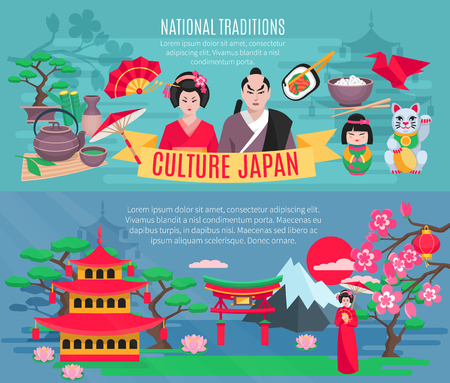 traditions: Japanese national symbols traditions and culture information for tourists flat horizontal banners set abstract isolated vector illustration