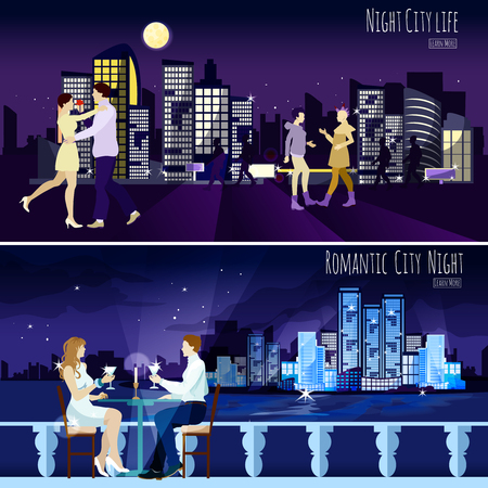 late: Late dating couple against modern city illuminated nightscape background 2 horizontal banners collection abstract isolated vector illustration Illustration