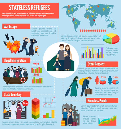 stateless: Stateless refugees infographics with immigration camps symbols and charts vector illustration