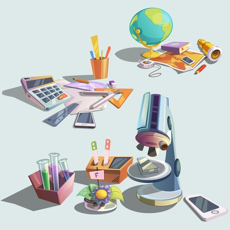 math set: Science retro objects set with cartoon school education icons vector illustration