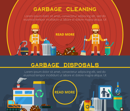 hoover: Garbage cleaning and disposals flat horizontal banners set of cleaners with trash bin hoover and  broom and processing plant icons vector illustration