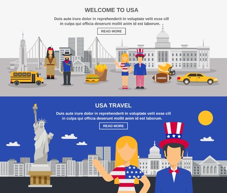 usa flags: Cultural travel sightseeing USA information online 2 flat banners design webpage with american symbols abstract vector illustration