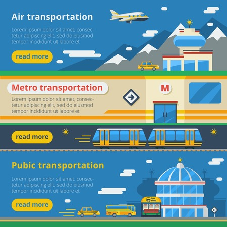 passenger transportation: Passenger transportation horizontal banners set of air metro and public transport compositions flat vector illustration Illustration