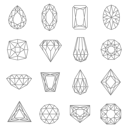 jewels: Jewels line icons set with classic design flat isolated vector illustration