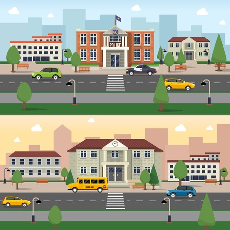 municipal: Municipal buildings horizontal banner set with police office and school outdoors vector illustration