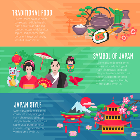 information  isolated: Japanese national symbols traditional food and lifestyle information 3 flat horizontal banners set abstract isolated vector illustration