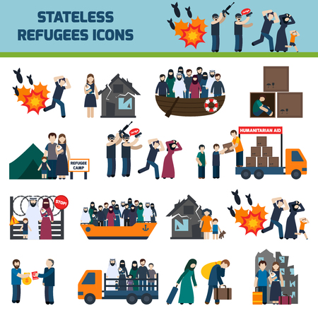 Stateless refugees icons set with illigal immigrants isolated vector illustration
