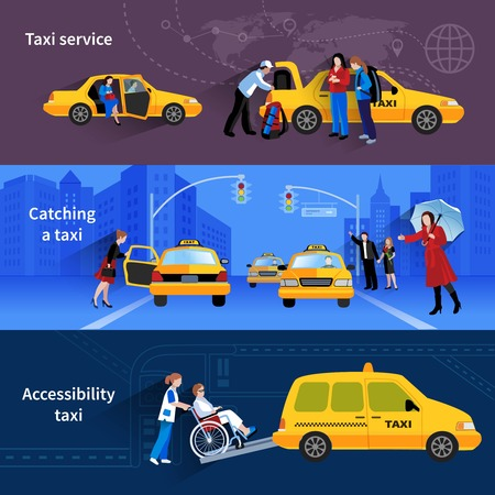 accessibility: Banners with scenes of taxi service catching taxi and accessibility taxi flat vector illustration