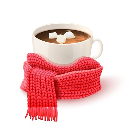 Cozy winter composition with hand knitted red scarf and white cup of hot chocolate print vector illustration Иллюстрация