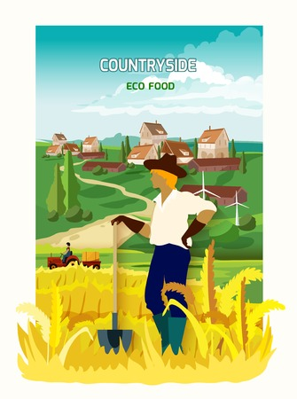 harvesting: Young farmer harvesting eco crops standing with spade in the countryside flat poster abstract vector illustration