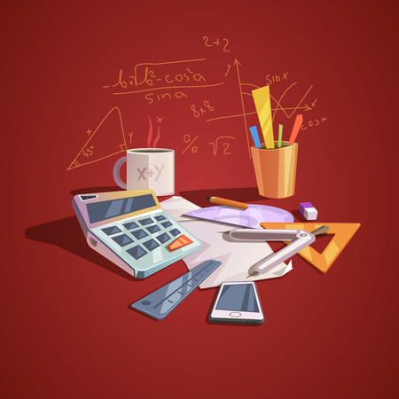 Math science concept with school lesson items in retro cartoon style vector illustration Çizim