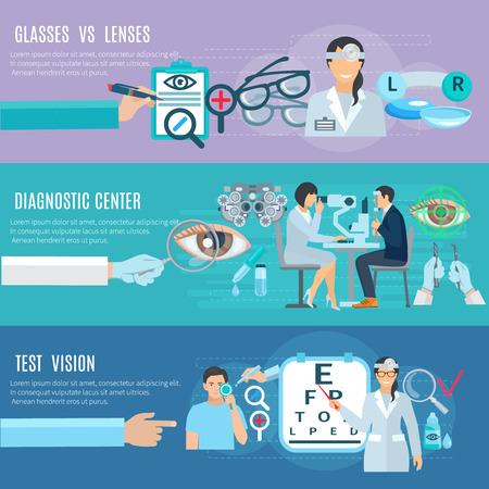 oculist: El oftalmólogo oculista manos de diagnóstico y centro de tratamiento de largo 3 banners horizontales planas Resumen ilustración vectorial aislado