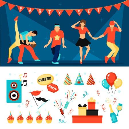 Parti bannière horizontale définie avec la danse des gens plat isolé illustration vectorielle