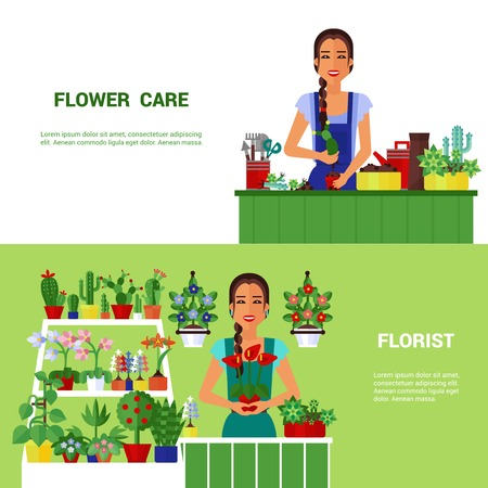 florist: Beautiful young florist selling house plants 2 flat horizontal banners poster with shop counter abstract isolated vector illustration