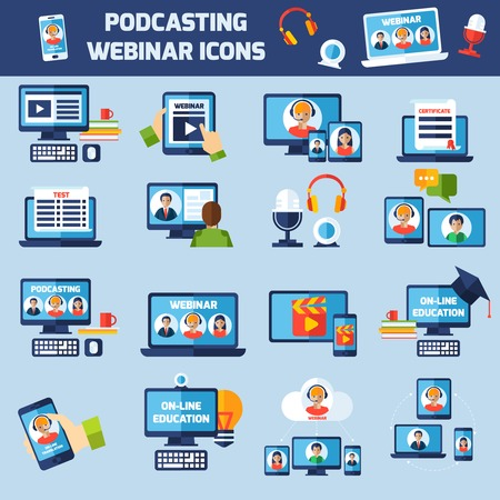 education icons: Podcasting and online webinar education flat icons set isolated vector illustration