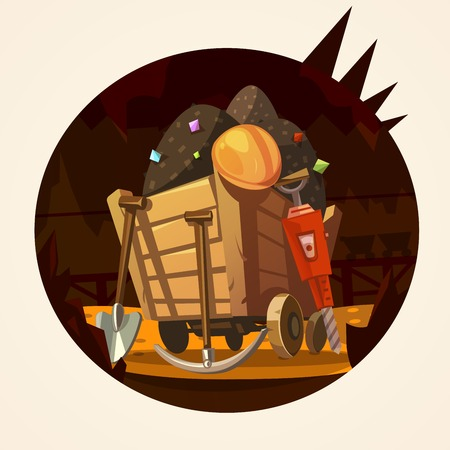 iron ore: Mining concept with trolley with minerals and working tools retro cartoon vector illustration