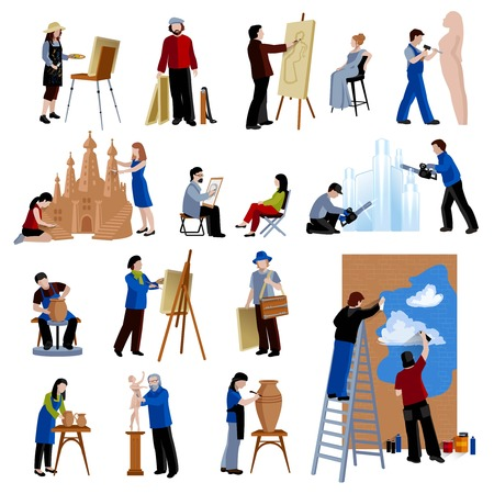 Vlakke pictogrammen set van creatief beroep mensen zoals artiest schilder beeldhouwer keramist street art geïsoleerde vector illustratie