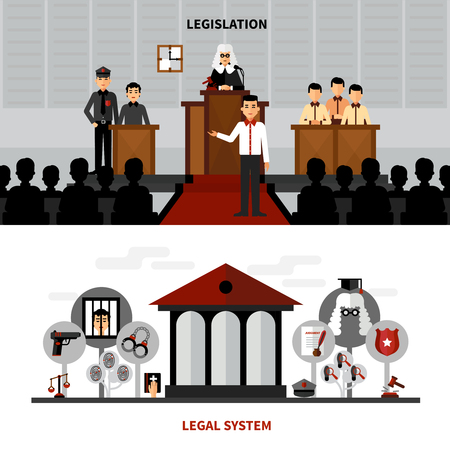 legislation: Legal system law and legislation 2 flat banners composition with judge in the court abstract isolated vector illustration