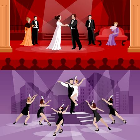 tragedy mask: Flat compositions of 2 theater scenes presenting actors in performance and artists in musical vector illustration