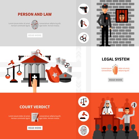 legal system: Civil law legal system service online information 3 flat horizontal banners webpage design abstract isolated vector illustration Illustration