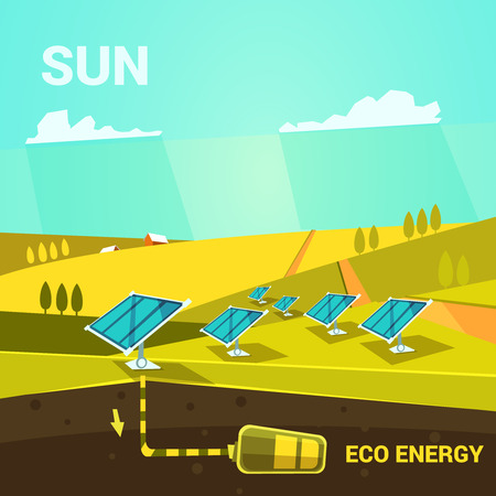 solar battery: Ecologycal energy cartoon poster with solar power panels on a field retro style vector illustration