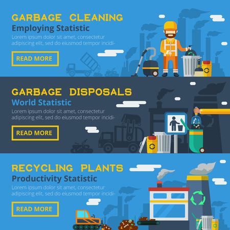 canecas de basura: reciclaje de basura banners horizontales planas conjunto de iconos de los empleados y la productividad de las plantas de procesamiento de estadísticas ilustración vectorial Vectores