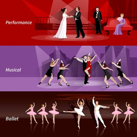 drama: Horizontal banners set of theater people in ballet musical and performance flat vector illustration