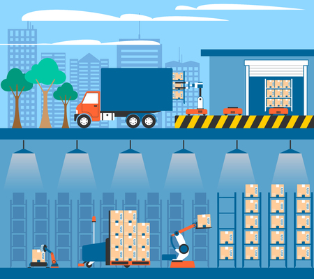 storing: Warehouse facilities and equipment for storing and shipment cargo 2 flat banners composition abstract isolated vector illustration