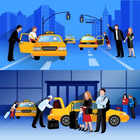 checkout line: Horizontal banners set of taxi service compositions of people catching and sitting in taxi flat vector illustration