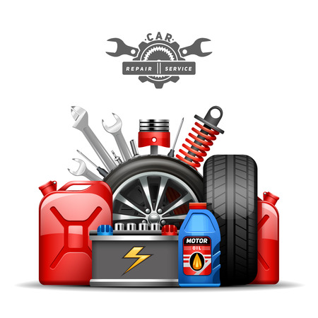 Car service center colorful advertisement composition poster with wheels tires oil and gas canister flat abstract vector illustration