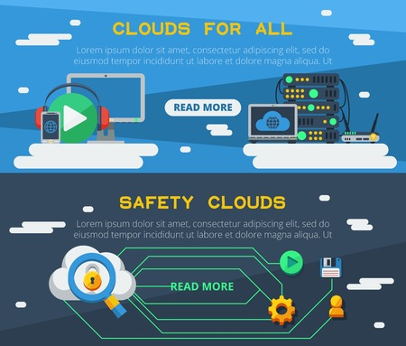 syncing: Flat horizontal banners set of cloud services for using multimedia resource and  safe storage of information vector illustration Illustration