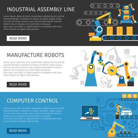 lineas horizontales: los robots controlados por ordenador de la línea de montaje industrial página web interactiva 3 banners horizontales planas Resumen ilustración vectorial aislado
